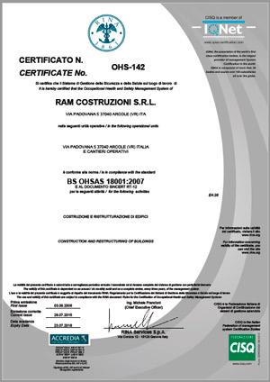 RAM Costruzioni certificazione Sicurezza OHSAS-18001